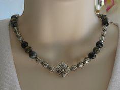Jasper Necklace Silver Beaded Choker Necklace by RalstonOriginals, $35.00