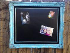 Antique Ornate Frame  Turquoise MAGNETIC CHALKBOARD EightySix56.etsy.com, $130.00