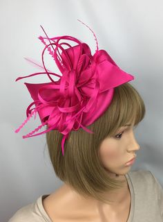 Your place to buy and sell all things handmade Wedding Guest Fascinators, Wedding Hats For Guests, Fascinator Hairstyles, Hair Fascinators, Pink Fascinator, Occasion Hats, Maroon Wedding, Thing 1, Stylish Hats