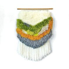 Furry Pistachio n. 2 // Handwoven Tapestry Wall hanging, by jujujust on Etsy