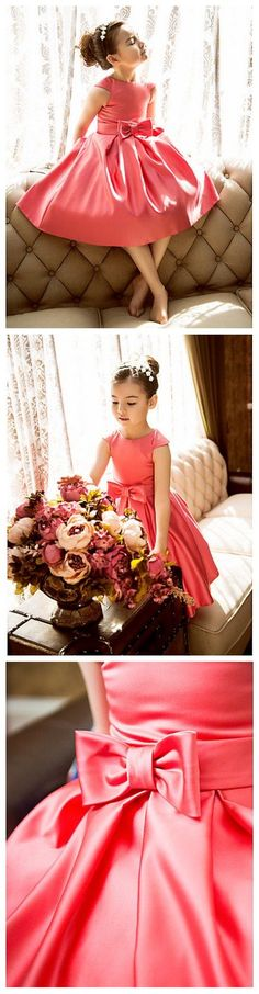bf2e5b5772af Classic coral satin flower girl dress 70% off plus a coupon deal! Only 1