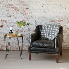 Hairpin Table | Schoolhouse Electric | Leather Chair | Living Room Inspiration