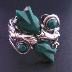Chrysoprase Bracelet Tulip Jewelry Hand by HighEndSilverJewelry