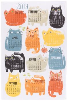 dish towels ** Special ** Cat Calendar Tea Towel 2019 NWT A Brand New Dish Towel by Now Designs from their 2019 Purrfect Cat Calendar Collection. Add life and character to your kitchen wi Cat Calendar, Calendar 2020, Calendar Design, Desk Calender, Dish Towels, Tea Towels, Kids Planner, Calander, Planners
