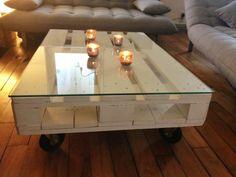 Construire table basse palette – récup et déco simpa - table-basse-palette-decoré-bougie-et-verre