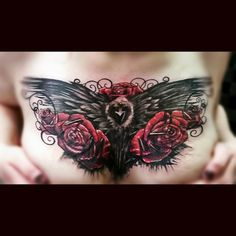Raven and roses cover up tattoo done by Andy Locke @ Locke Studios Tattoo and Piercing Gettysburg, PA. Rose Chest Tattoo, Rose Tattoos, Body Art Tattoos, Raven Tattoo, Get A Tattoo, Game Of Thrones Tattoo, Chest Piece, Cover Up Tattoos, Tattoo Inspiration