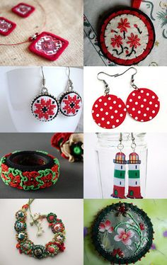 Textile jewelry by varmea on Etsy--Pinned with TreasuryPin.com