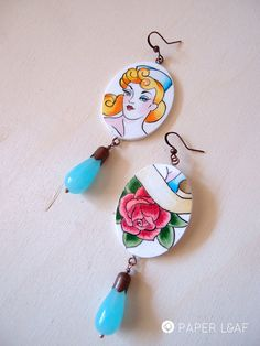 Paper earrings The Sailor Girl  Artistic & hand por PaperLeafJewels