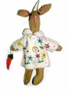 5″ Brown Bunny Rabbit in White Coat Hand Stitched Handmade Wool Felt Applique Ornament Plush Doll | Little Handcrafts