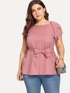 To find out about the Plus Petal Sleeve Self Tie Blouse at SHEIN, part of our latest Plus Size Blouses ready to shop online today! Plus Size Blouses, Plus Size Tops, Romwe, Petal Sleeve, Plus Size Summer, Plus Size Beauty, Tie Blouse, Suit And Tie, Blouse Online