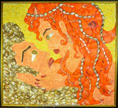"""Eyes to eyes"", mixed media seashell  mosaic and acrylic painting by Alla Baksanskaya."