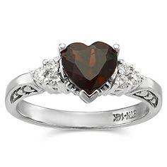 14k White Gold Heart Shape Garnet and Diamond Ring from Borsheims for $765