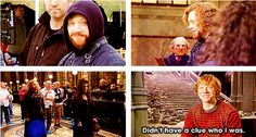 """""""I quite enjoyed all those scenes where we were all kind of disguised. There's a full beard and they darkened my eyebrows. They just had all these gothic kind of robes. I walked on the set and people that I've known for like seven years just walked past me. Didn't have a clue who I was."""" -Rupert Grint"""
