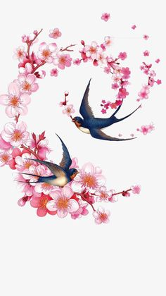 material flowers how to make ; material flowers diy how to make Peach Blossom Tree, Cherry Blossom Drawing, Peach Blossoms, Arte Yin Yang, Material Flowers, Fabric Material, Blossom Tattoo, Vintage Birds, Bird Pictures