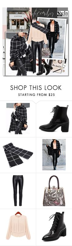 """December with Shein.com"" by hamaly ❤ liked on Polyvore featuring Prada, Yves Saint Laurent, ootd, Sheinside, blouses, scarf and leatherpants"