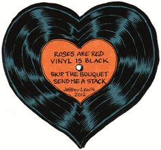 Rock'n'Roll Valentines - Jeffrey Lewis 2012 Roses are Red Vinyl is Black Skip the Bouquet Send me a Stack Vintage Valentines, Image, Art, Pop Art, Prints, Aesthetic Art
