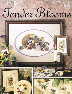 CROSS STITCH PATTERN - Pansies Flower Cross Stitch Pattern - Flower Seed Packet Cross Stitch - Tender Blooms - Leisure Arts 2170