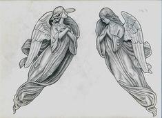Bilderesultat for elvin yong Cool Chest Tattoos, Leg Tattoo Men, Badass Tattoos, Sleeve Tattoos, Tattoos For Guys, Angel Tattoo Drawings, Angel Drawing, Angel Tattoo Designs, Drawings With Meaning