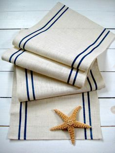 Burlap table runner with Navy Stripe / by HomesteadBurlaps on Etsy, $48.00