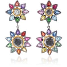 She Bee Rhodium-Plated Rainbow Sapphire and Quartz Drop Earrings ($915) ❤ liked on Polyvore featuring jewelry, earrings, multi, flower jewellery, rhodium plated earrings, rainbow sapphire earrings, 14k jewelry and rainbow quartz jewelry