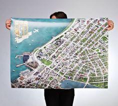 Reykjavik City Center Map by Borgamynd.