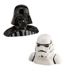 Star Wars Darth Vader and StormTrooper Salt and Pepper Shaker Set. Join the Dark Side. It's tastier.