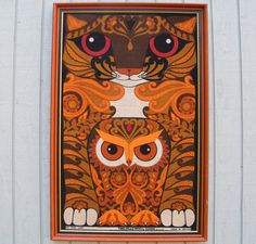 Vintage Owl and PussyCat Tibbles and Woo Framed Linen from GloryBDesign. Vintage Owl, Retro Vintage, Vintage Stuff, Blue Morning Glory, The Pussycat, English Artists, Wise Owl, Owl Art, Friends In Love