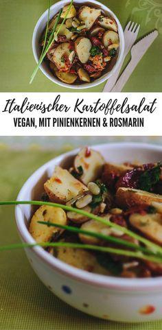 Italienischer Kartoffelsalat mit Pinienkernen und Rosmarin. vegan
