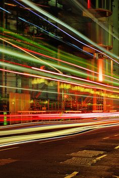 Night Light Trails on Leadenhall Street, City of London
