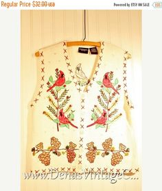SALE 60% OFF Ugly Christmas Sweater Vest Ivory with Christmas Trees Red Birds Pine cones Berries Tacky Sweater PL