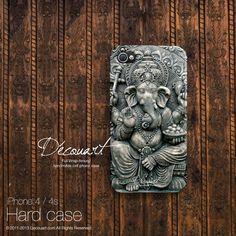 Ganesha iPhone 5 cas, iPhone 5 s cas, iPhone 4 cas, iPhone 4 s cas, ganesha hipster modèle S188 gris noir, cadeau de Noël sur Etsy, 18,01€