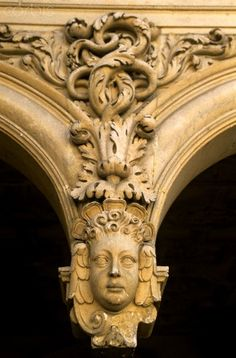 France, Charente Maritime, La Rochelle, Town hall, detail of an archway in the courtyard