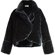 Isa Arfen Asymmetric padded velvet coat ($1,511) ❤ liked on Polyvore featuring outerwear, coats, jackets, navy, oversized coat, padded coat, velvet coat, asymmetrical coat and navy blue coat