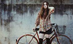 Thigh high socks via show me a bike  #girlsonwheels #bike #girl