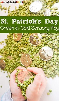 Patrick's Day Green & Gold Sensory Play:An easy and mess free St. Patrick's Day Sensory activity for kids (March, Preschool, Play) patricks day food for preschoolers St. Sensory Table, Sensory Bins, Sensory Activities, Sensory Play, Play Activity, March Crafts, St Patrick's Day Crafts, Preschool Crafts, Kids Crafts