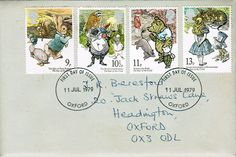 11-Jul-1979 UK First Day Cover (by CrosswordMan)    9p, 10 1/2p, 11p, 13p. The Year of the Child. The Tale of Peter Rabbit/Beatrix Potter, The Wind in the Willows/Kenneth Grahame, Winnie-the-Pooh/A A Milne, Alice's Adventures in Wonderland/Lewis Carroll.