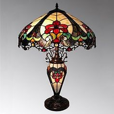 River of Goods Brown/Cream 2-light Art Glass Table Lamp | Overstock.com Shopping - The Best Deals on Tiffany Style Lighting