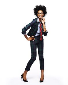 Trend Watch: Blackwatch Plaid. The slim fi of the jacket and pants keeps the look feminine, and the tie works when it's grounded in the same tones as the suit. #Apostrophe #LandsEnd