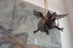Sugarpost flying pig! at Diving Cat Studio Gallery in Phoenixville, PA. http://www.divingcatstudio.com/