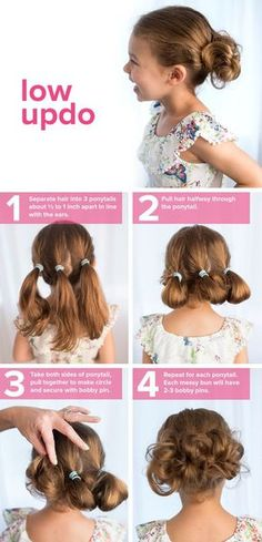 Adorable low messy updo hairstyle for little girls and toddlers. This classy hair do would be great for every day to special occasion.