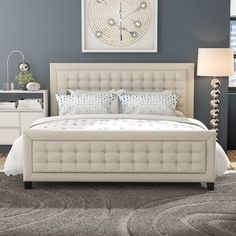This King size Woodside Upholstered Platform Bed in Beige will be a fantastic enhancement to your bedroom decor. Part of Art & Home's outstanding Beds & Bedroom Sets collection. Upholstered Platform Bed King, Upholstered Beds, Cama Design, Bed Design, Panel Headboard, Panel Bed, Bedroom Sets, Bedding Sets, Bedroom Furniture
