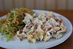 Baked Chicken Salad.  Pair with an E bread for a yummy E meal.