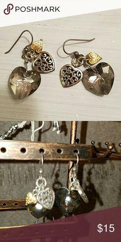Brighton heart silver charm earrings Brighton heart silver charm earrings Brighton Jewelry Earrings