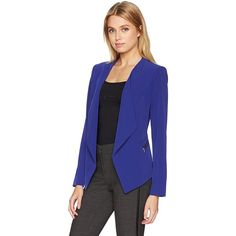 Calvin Klein Women's Flyaway Jacket with Zippers ($96) ❤ liked on Polyvore featuring outerwear, jackets, calvin klein jacket, zip jacket, zipper jacket, calvin klein and blue zipper jacket