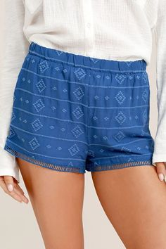 Put one hand in the pocket of the BB Dakota Watkin Blue Embroidered Shorts, and make a peace sign with the other! Breezy woven shorts have an elasticized waist, embroidery throughout, and side seam pockets. Pierced crochet lace trim at hems. What Is Trending Now, What's Trending, Soft Pants, Embroidered Shorts, Two Piece Dress, Resort Wear, Crochet Lace, Spring Fashion, Casual Shorts