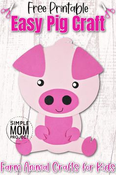 Here's a fun way for your kids to create an easy, diy pig craft. This farm animal pig craft comes with a free printable template and simple to follow step by step instructions. So whether you're having a pink pig party or teaching your toddlers the Letter P - this gorgeous Pink pig craft is a sure way to bring some fun to your kids day! Farm Animal Crafts, Pig Crafts, Animal Crafts For Kids, Farm Animals, Pig Art, Pink Cards, Year Of The Pig, Three Little Pigs, Farm Theme