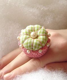 Country Girl Ring Pincushion by TheFinickyFrog on Etsy