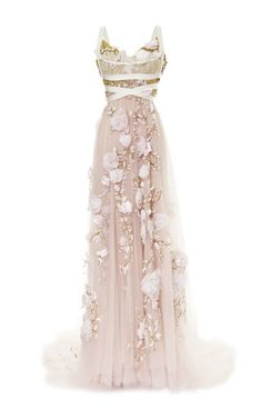 3 D Silk Ribbon Rose Empire Waist Gown by MARCHESA for Preorder on Moda Operandi