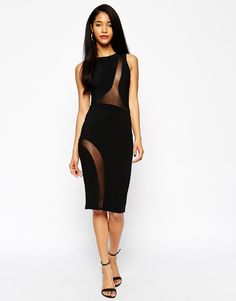 ASOS Mesh Curved Bodycon Dress