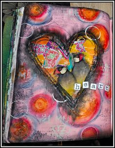 Creativity: heart ..  substrate made with colored gesso and over it with water-soluble crayons made some circles. This gives a very nice effect. Then on a separate piece of paper all colored pieces paper stuck there and a nice big stamp of a heart; May 2014